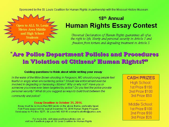 th annual human rights student essay contest   youth council for    essay